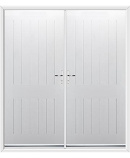 Tongue & Groove French Rockdoor in White