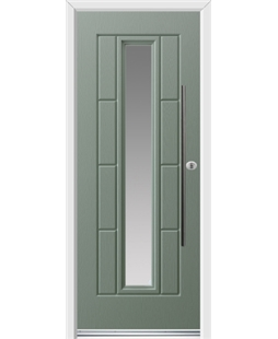 Ultimate Vermont Rockdoor in Chartwell Green with Glazing and Bar Handle