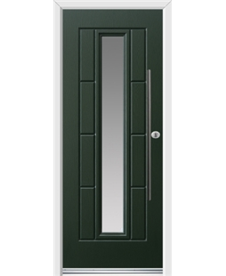 Ultimate Vermont Rockdoor in Emerald Green with Glazing and Bar Handle