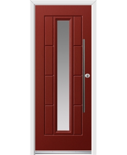 Ultimate Vermont Rockdoor in Ruby Red with Glazing and Bar Handle