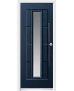 Ultimate Vermont Rockdoor in Sapphire Blue with Glazing and Bar Handle