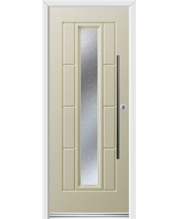 Ultimate Vermont Rockdoor in Cream with Gluechip Glazing and Bar Handle