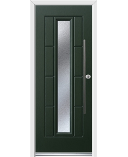 Ultimate Vermont Rockdoor in Emerald Green with Gluechip Glazing and Bar Handle