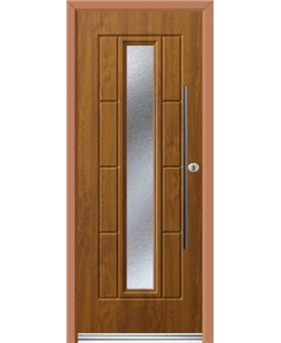 Ultimate Vermont Rockdoor in Light Oak with Gluechip Glazing and Bar Handle