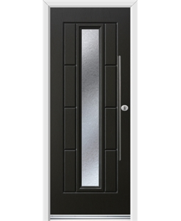 Ultimate Vermont Rockdoor in Onyx Black with Gluechip Glazing and Bar Handle