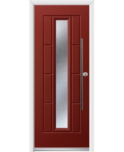Ultimate Vermont Rockdoor in Ruby Red with Gluechip Glazing and Bar Handle