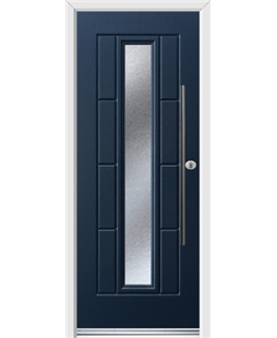Ultimate Vermont Rockdoor in Sapphire Blue with Gluechip Glazing and Bar Handle