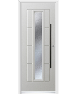 Ultimate Vermont Rockdoor in White with Gluechip Glazing and Bar Handle