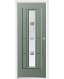 Ultimate Vermont Rockdoor in Chartwell Green with Grey Shades and Bar Handle