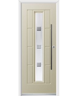 Ultimate Vermont Rockdoor in Cream with Grey Shades and Bar Handle