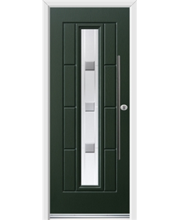 Ultimate Vermont Rockdoor in Emerald Green with Grey Shades and Bar Handle