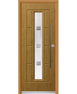 Ultimate Vermont Rockdoor in Irish Oak with Grey Shades and Bar Handle