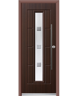 Ultimate Vermont Rockdoor in Mahogany with Grey Shades and Bar Handle
