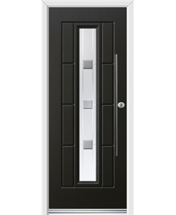 Ultimate Vermont Rockdoor in Onyx Black with Grey Shades and Bar Handle