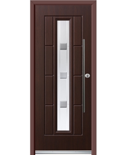 Ultimate Vermont Rockdoor in Rosewood with Grey Shades and Bar Handle