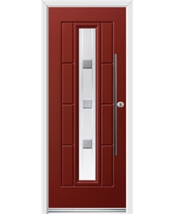 Ultimate Vermont Rockdoor in Ruby Red with Grey Shades and Bar Handle