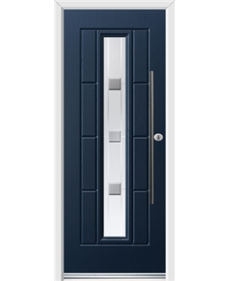 Ultimate Vermont Rockdoor in Sapphire Blue with Grey Shades and Bar Handle