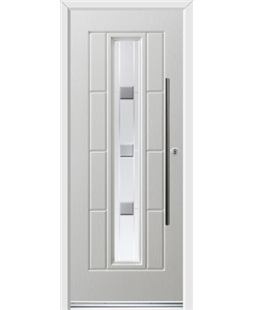 Ultimate Vermont Rockdoor in White with Grey Shades and Bar Handle