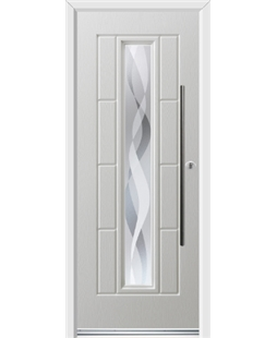 Ultimate Vermont Rockdoor in White with Haze and Bar Handle
