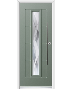 Ultimate Vermont Rockdoor in Chartwell Green with Haze and Bar Handle