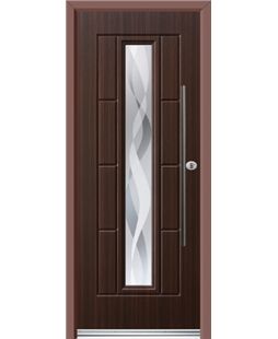 Ultimate Vermont Rockdoor in Mahogany with Haze and Bar Handle