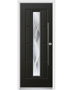 Ultimate Vermont Rockdoor in Onyx Black with Haze and Bar Handle