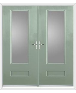 Vogue French Rockdoor in Chartwell Green with Glazing