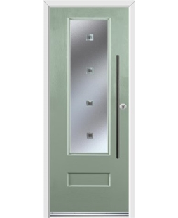 Ultimate Vogue Rockdoor in Chartwell Green with Abyss Glazing and Bar Handle
