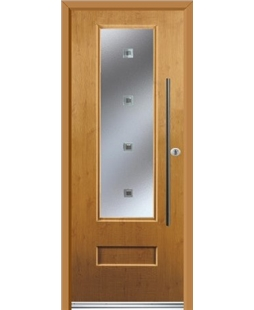 Ultimate Vogue Rockdoor in Irish Oak with Abyss Glazing and Bar Handle