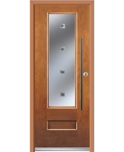 Ultimate Vogue Rockdoor in Light Oak with Abyss Glazing and Bar Handle
