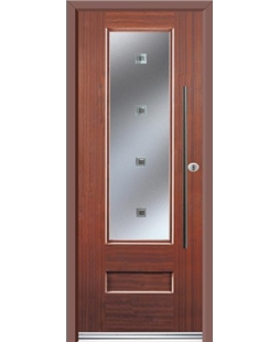 Ultimate Vogue Rockdoor in Mahogany with Abyss Glazing and Bar Handle