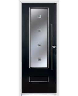 Ultimate Vogue Rockdoor in Onyx Black with Abyss Glazing and Bar Handle