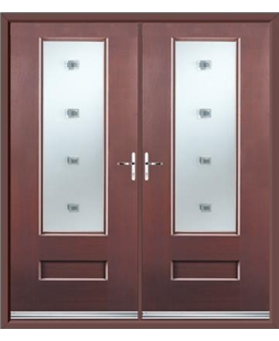 Vogue French Rockdoor in Rosewood with Abyss Glazing