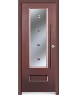 Ultimate Vogue Rockdoor in Rosewood with Abyss Glazing and Bar Handle
