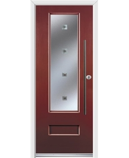 Ultimate Vogue Rockdoor in Ruby Red with Abyss Glazing and Bar Handle