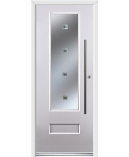 Ultimate Vogue Rockdoor in White with Abyss Glazing and Bar Handle
