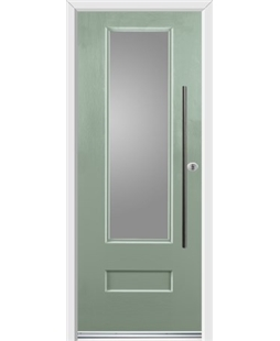 Ultimate Vogue Rockdoor in Chartwell Green with Glazing and Bar Handle