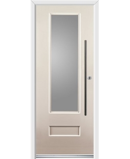 Ultimate Vogue Rockdoor in Cream with Glazing and Bar Handle
