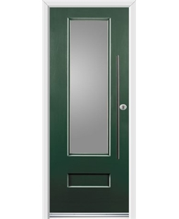 Ultimate Vogue Rockdoor in Emerald Green with Glazing and Bar Handle