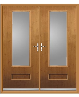 Vogue French Rockdoor in Irish Oak with Clear  Glazing