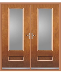 Vogue French Rockdoor in Light Oak with Glazing