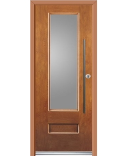 Ultimate Vogue Rockdoor in Light Oak with Glazing and Bar Handle