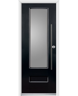 Ultimate Vogue Rockdoor in Onyx Black with Glazing and Bar Handle