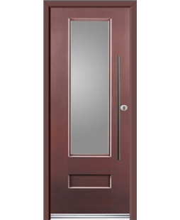 Ultimate Vogue Rockdoor in Rosewood with Glazing and Bar Handle