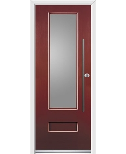 Ultimate Vogue Rockdoor in Ruby Red with Glazing and Bar Handle