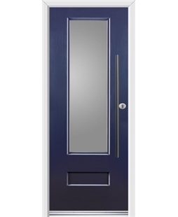 Ultimate Vogue Rockdoor in Sapphire Blue with Glazing and Bar Handle
