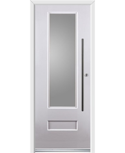 Ultimate Vogue Rockdoor in White with Glazing and Bar Handle