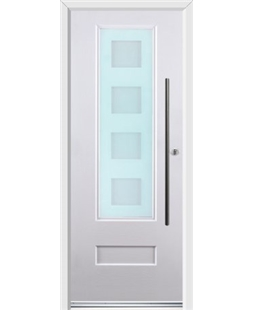 Ultimate Vogue Rockdoor in Blue White with Cube Glazing and Bar Handle