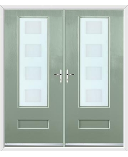 Vogue French Rockdoor in Chartwell Green with Cube Glazing