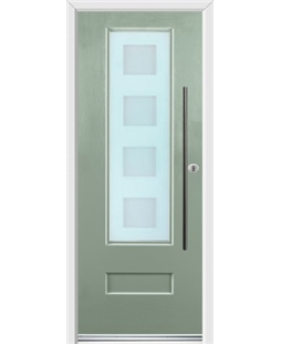 Ultimate Vogue Rockdoor in Chartwell Green with Cube Glazing and Bar Handle